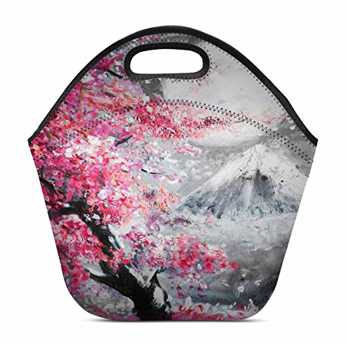 - InterestPrint Landscape with Cherry Blossom Sakura and Mountain Lunch Bag Tote Handbag Lunchbox Insulated Neoprene Gourmet Tote Cooler Warm Pouch 11.93