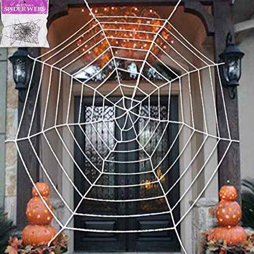Pawliss Halloween Decorations, 11.8 feet Giant Spider Web with Super Stretch Cobweb Set, Halloween Outdoor Yard Decor, Round Dia, White]()