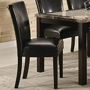 amazon dining room furniture | Amazon.com - Set of 2 Black Upholstered Dining Side Chairs ...