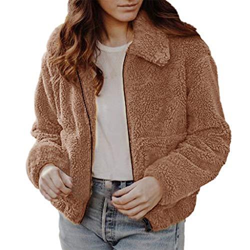 Creazrise Women's Fashion Long Sleeve Lapel Zip Up Faux Shearling Shaggy Oversized Coat Jacket with Pockets Warm Winter