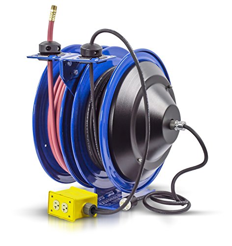 Coxreels C-L350-5012-B Combo Air and Electric Hose Reel with Quad Outlet Attachment, 3/8