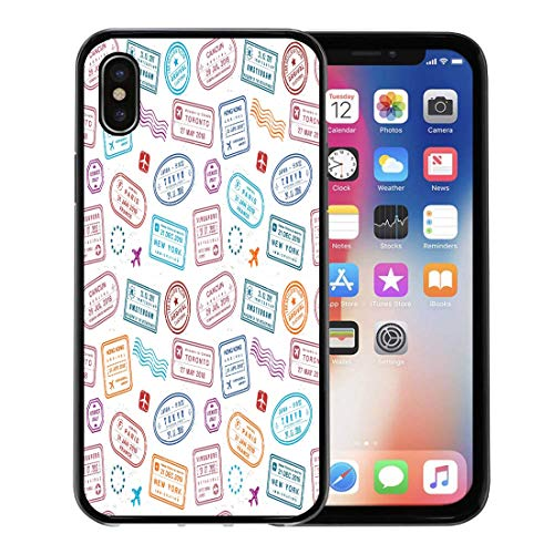 Emvency Phone Case for Apple iPhone Xs Case/iPhone X Case,Frequent Colorful Vintage Travel Passport Stamps Collage Fictitious Border Soft Rubber Border Decorative, Black