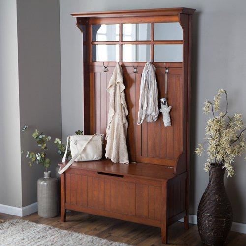 Cherry Entryway Hall Tree with Mirror Coat Hooks and Storage Bench (With Hall Bench Mirror And Tree)