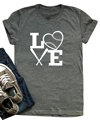 - Women Love Baseball Print Short Sleeve T Shirt Heart Print Graphic Tee Tee Tops Size L (Gray)