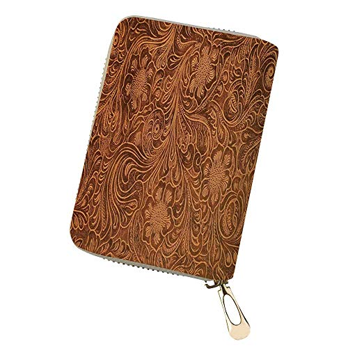 Womens Credit Card Holder Wallet of fancy tooled lea Leather Small ID Card Case