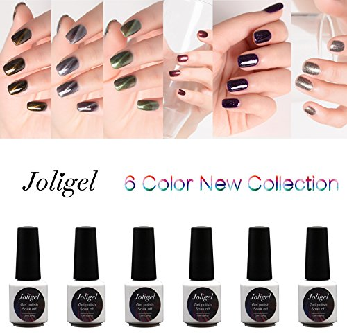 Joligel Gel Nail Polish Set UV LED, 3 Magnetic 3D Cat Eye  3