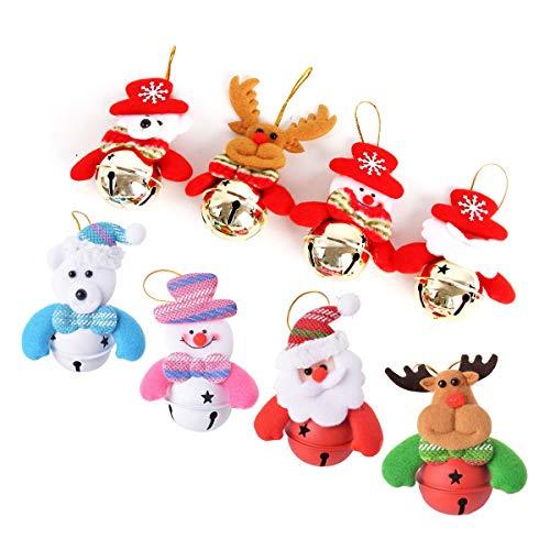 Adromy Christmas Bells Decorations Ornaments Set, Christmas Tree Ornaments Hanging Decorations, Plush Snowman Santa Claus Polar Bear Elk Christmas Home Party Holiday Decorative - 8pcs