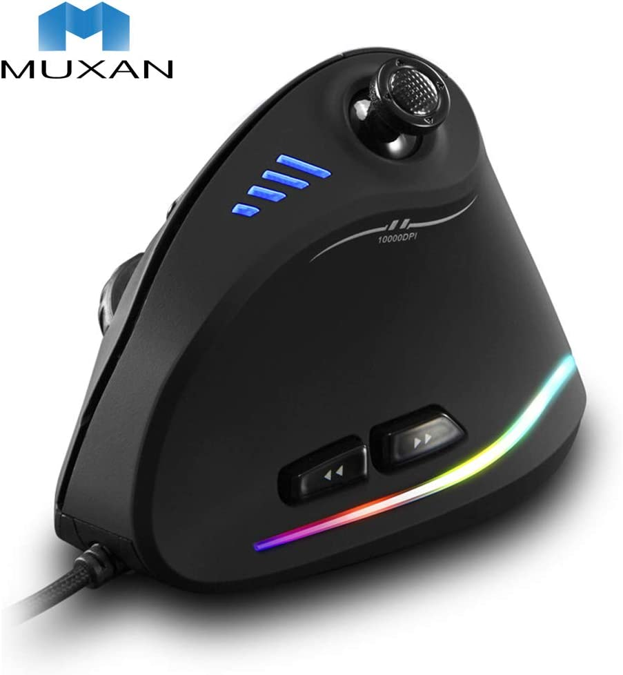 Optical Mouse Wired Ergonomic Gaming Mouse with 5 D Rocker 10000 DPI 11 Programmable Buttons RGB Vertical Gaming Mice for Gamer PC Laptop Computer
