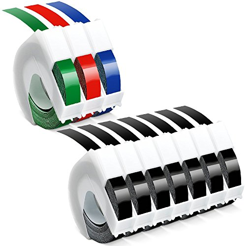 10 Roll Equivalent Dymo Embossing Label Maker Tapes 3 8 X 9 8 Black Blue Red Green 3D Plastic Organizer Xpress Tape Compatible With Dymo Embossing Office Mate Ii And Old School Label Makers