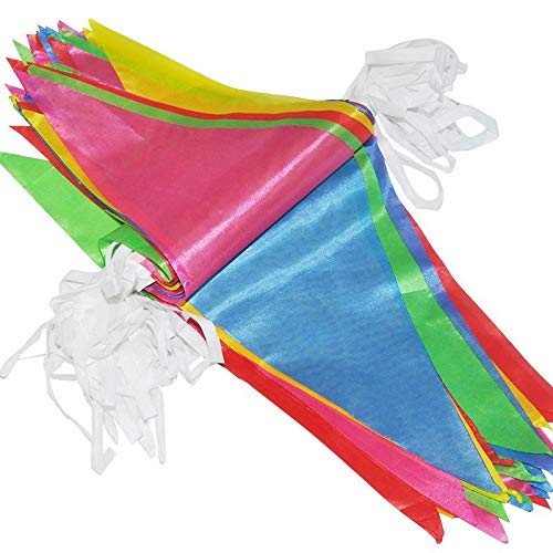 MuLuo 38m Rope Lenght 100pcs Flags Colorful Flags for Birthday Wedding Party Photograph