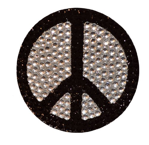 Crystal Heiress Rhinestone Sticker, Peace Sign, 2.5-Inch, Black/Silver Peace Bling