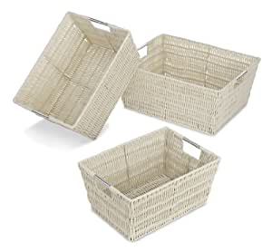 Whitmor Rattique Storage Baskets - Latte (3 Piece Set)