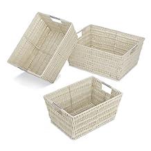 Whitmor 6500-1959-Latte Rattique Storage Baskets, Latte, Set of 3