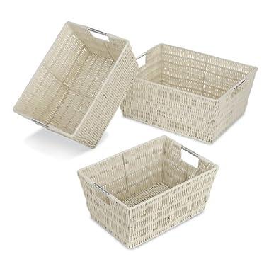 Whitmor 6500-1959 Rattique Storage Baskets, Latte, Set of 3