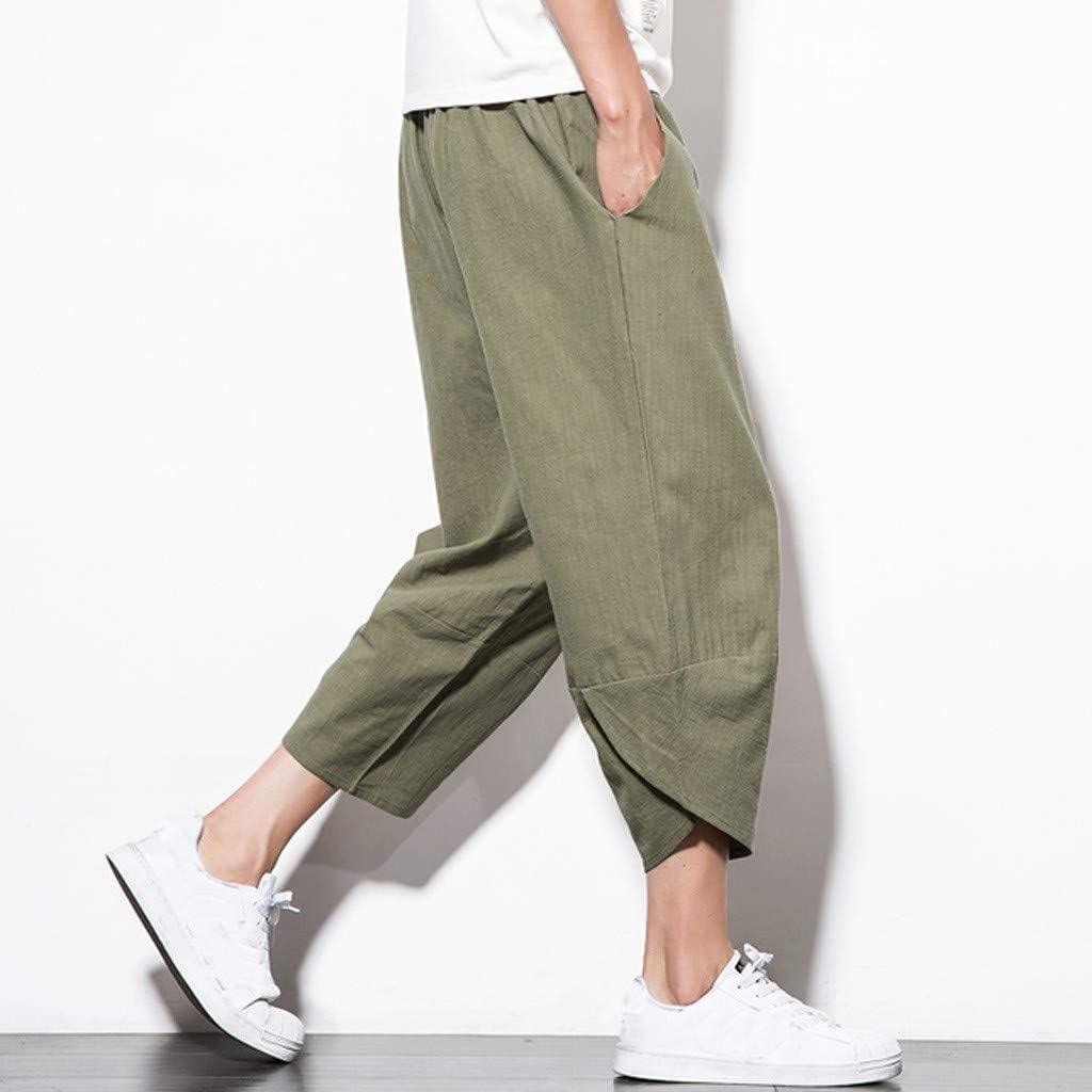 Pandaie Mens Pants,Mens Summer Cotton Linen Pants Casual Embroidery Loose Capri Harem Pants