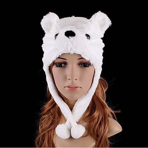 Cute Fluffy Plush Earmuff Warm Bear Cap Hat for Cold Winter-White (Dog Graduation Costume)