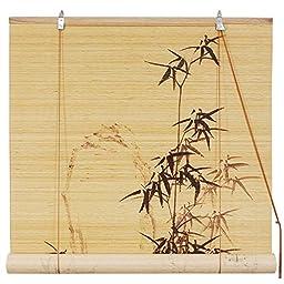 Oriental Furniture Black Bamboo Design Blinds (24 in. x 72 in.)