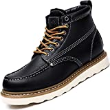 CAMEL CROWN Mens Work Boots 6' Moc Toe Leather Safety Toe Wedge Boots for Mens Work Shoes