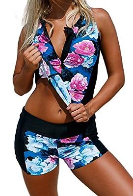 ZKESS Women Floral Zip Front Sporty Tankini Swimsuits with Swim Shorts S - XXXL Plus Size