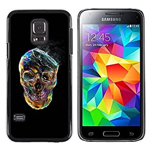 Plastic Shell Protective Case Cover || Samsung Galaxy S5 Mini, SM-G800, NOT S5 REGULAR! || Smoke Skull Vibrant Colorful Black @XPTECH