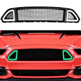 Front Hood Upper Grille w/ Green DRL LED Accent Vent Lights for 2015 2016 2017 Ford Mustang