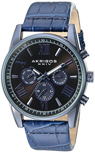Akribos XXIV Men's Swiss Quartz Multi-Function Black Sunray Dial Blue Alligator Embossed Genuine Leather Strap Watch AK911BU