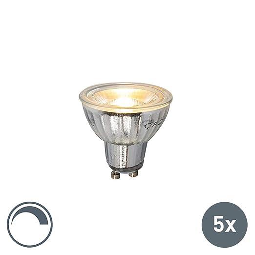 LUEDD Set de 5 bombillas GU10 LED 230V 5W 380LM 2700K regulable