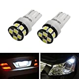 iJDMTOY (2) High Power 12-SMD-2835 168 194 2825 W5W T10 LED Bulbs For License Plate Lights or Parking Position Lights, Xenon White