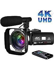 Video Camcorder 4K Videokamera mit WiFi 3,0-Zoll Touchscreen Nachtsicht Camcorder Full hd mit Mikrofon und Pausenfunktion für YouTube
