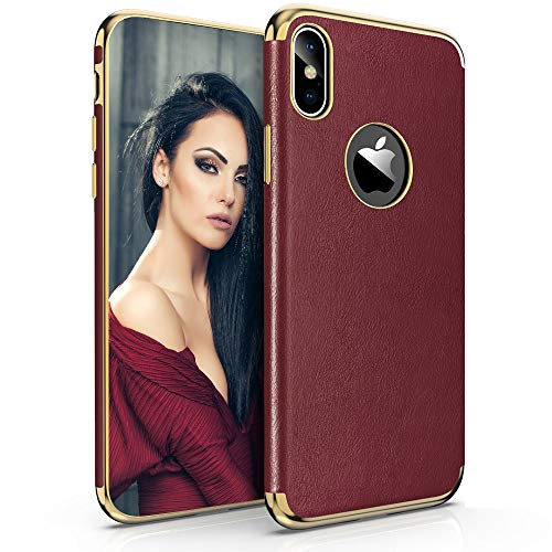 LOHASIC iPhone Xs Max Case for Women, Luxury Thin Slim-Fit Premium Soft PU Leather Flexible TPU Full Body Shockproof Protective Phone Cover Cases for Apple iPhone Xs Max (2018) 6.5 inch (Burgundy)