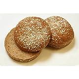 Rotellas Dark Wheat Oat Topped Hamburger Bun - 8 count per pack -- 12 packs per case.