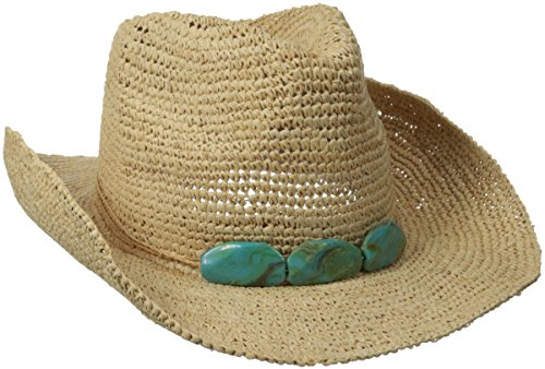 Physician Endorsed Women's Trini Crochet Cowgirl Sun Hat Trimmed with String & 3 Stones & Memory Wire Brim, Natural/Turquoise, One Size