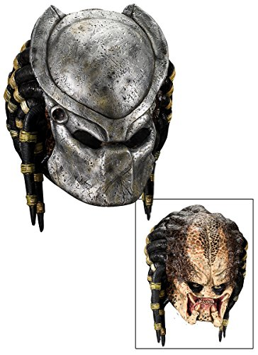 Predator Mask With Dreads - Deluxe Predator Mask with Detachable Faceplate