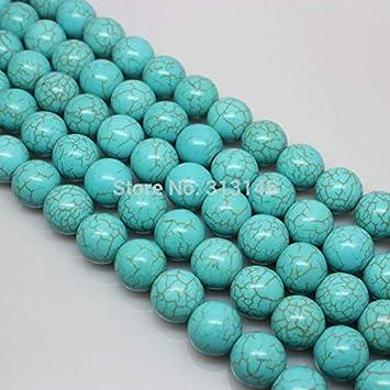 No Logo Yinxinhui Piedra Natural al por Mayor Perlas Azules de Turquesa filamento Flojo for la Pulsera Collar DIY joyería Que Hace 4 6 8 10 12 14 mm