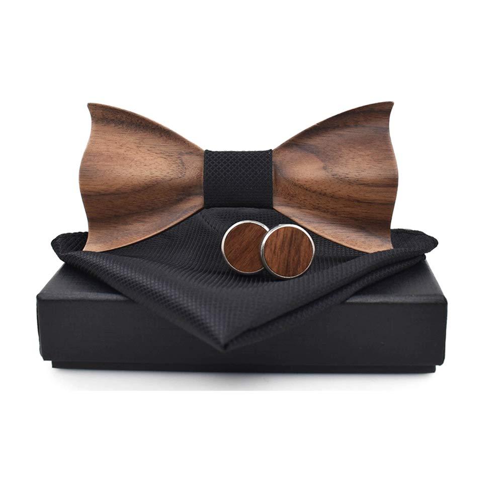 Quner Men Wood Bow Tie Classic Handmade Square Men's Cufflinks Lapel Flower Set for Weddings Parities Festivals Casual Formal