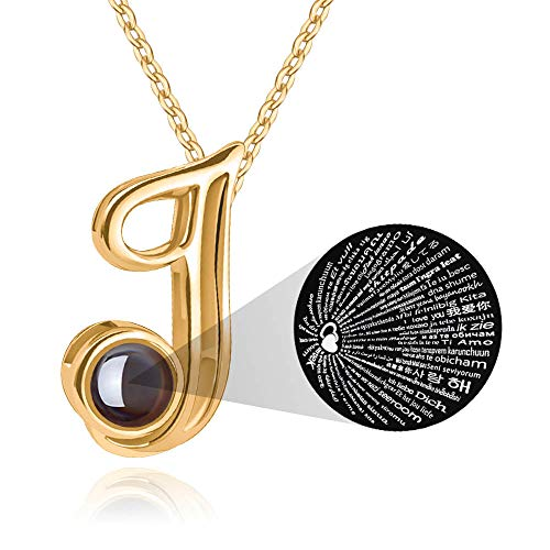 M MOOHAM Initial Necklace for Women Gift - 26 A-Z Initial Letters Necklace Jewelry Personalized 100 Languages I Love U Pendant Necklace Best Gifts for Women Girl Mother's Day Birthday Parties -