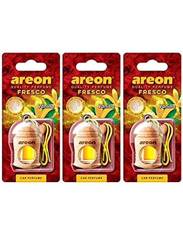 Areon Fresco Ambientador Vainilla Coche Perfume Casa Olor Liquido Botella Mini Original Madera Colgar Colgante Amarillo