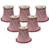 (6 Pack) Royal Designs 6'' Burgundy/Antique Gold Striped Chandelier Lamp Shade, 3 x 6 x 4.5 (CS-611AGL/BUR-6)