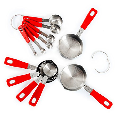 Rorence 18-8 Stainless Steel Measuring Cups and Spoons Set with Long Silicone Handle, Set of 12 - Red
