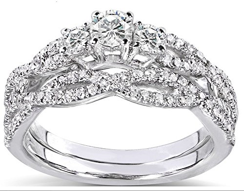 Fascinating Antique Diamond Bridal Ring Set 1 Carat Round Cut Diamond on 10k Gold from JeenJewels