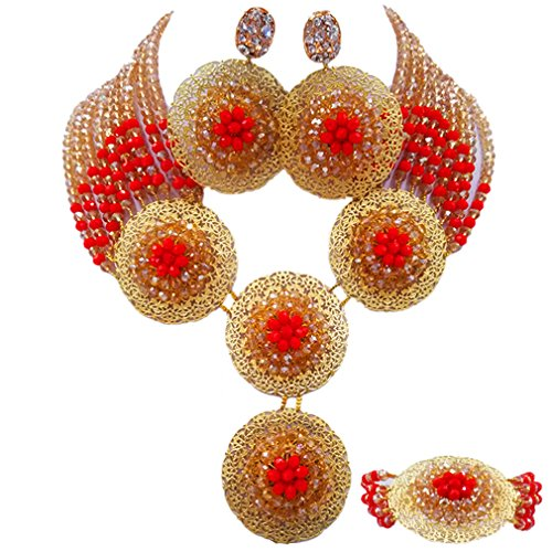 (aczuv African Beads Jewelry Set 2017 Nigerian Wedding Necklace and Earrings for Women (Gold AB Red Opaque))