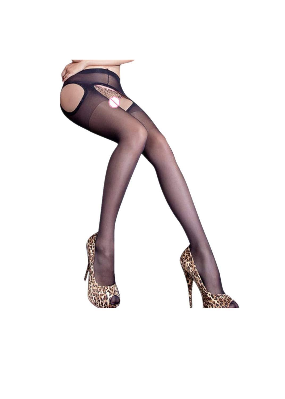 SGMORE Socks Elastic Pantyhose Stockings Sexy Women Open Soft Tights Fashion Panties (Black, Free)