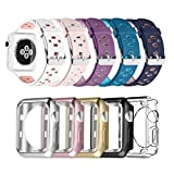 For Apple Watch Breathable Band 42mm, UMTELE Silicone Replacement Wristband Sport Strap with TPU Protective Case for Apple Watch Nike+, Series 3, Series 2, Series 1, Sport, Edition, Pack of 5