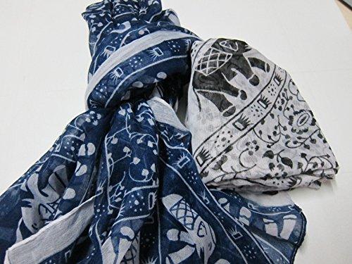 Lady Fashion Soft Fabric National Style Long Scarf Shawl Wrap Elephant (Ann Taylor Loft Green)