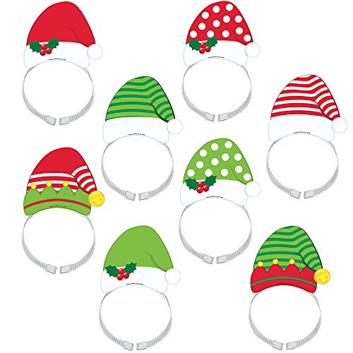 Amscan Santa Hat Cardstock Headband - 8 Pack, 4.5'' Wide -
