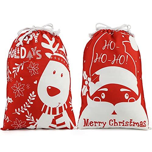 Shindel 2PCS Christmas Santa Sack, Christmas Canvas Gift Bag with Drawstring Santa Sack Canvas Bag, 20x15.9 inches