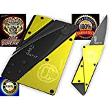 Credit Card Sized Folding Wallet Knife- This Is the Perfect Pocket or Survival Tool, andIt's Cool, Portable, Practical, and Lightweight with a. (Yellow with gorilla)
