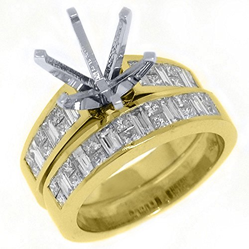 Mount Semi Gold Invisible Set - 18k Yellow Gold Princess & Baguette Diamond Ring Semi-Mount Set 2 Carats