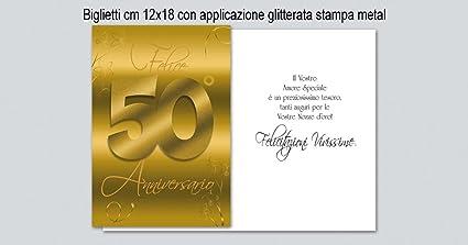 Tarjeta de felicitación color dorado para aniversario 50 años ...