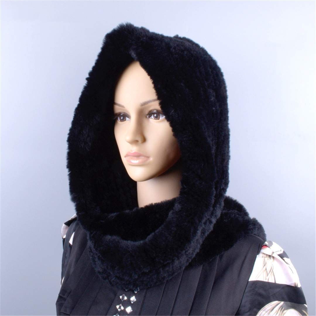 Knitted Fur Hood Real Rex Scarf Hat For Women Winter Snow Warm Large-Knitted Hat Black 56to59cm by Morussnta (Image #6)